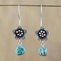 Silver flower dangle earrings, 'Apricot Blossom' - 950 Silver Flower Dangle Earrings from Hill Tribe Artisans