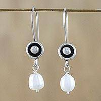 Cultured pearl dangle earrings, 'Punctuation in White' - White Cultured Pearl and 950 Silver Dangle Earrings