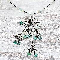 Amazonite long beaded pendant necklace, 'Sprig' - Unique Pendant Necklace with Amazonite Beads