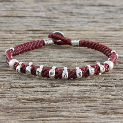 Silver beaded cord bracelet, 'Karen Joy in Crimson' - 950 Hill Tribe Silver and Red Cord Bracelet