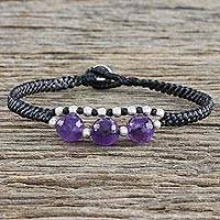 Amethyst and silver beaded bracelet, 'Hill Tribe Express' - Amethyst and 950 Silver Corded Bracelet from Thailand