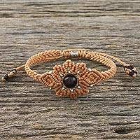 Garnet pendant bracelet, 'Floral Essence' - Natural Garnet and Tan Pendant Bracelet with 950 Silver