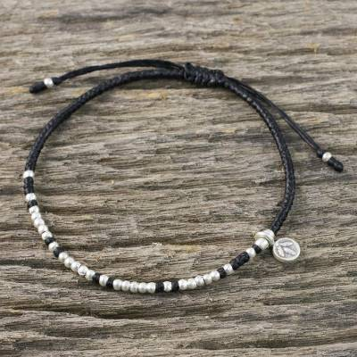 Silver beaded cord charm bracelet, 'Bohemian Life in Black' - Bohemian Black Cord and 950 Silver Beaded Bracelet