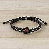 Tiger's eye pendant bracelet, 'Glowing Ember' - Dark Brown Macrame Necklace with Tiger's Eye Bead