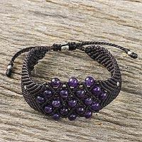 Amethyst beaded bracelet, 'Hill Tribe Constellation' (Thailand)