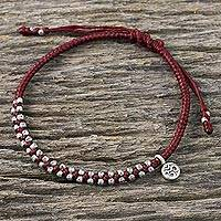 Silver beaded cord charm bracelet, 'Bohemian Life in Crimson' - Hand Crafted Cord Bracelet in Red with 950 Silver