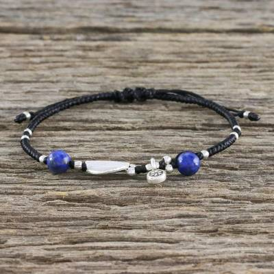 Lapis lazuli and silver pendant bracelet, 'Hill Tribe Twist' - Beaded 950 Silver and Lapis Lazuli Cord Bracelet