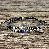 Lapis lazuli and silver beaded charm bracelet, 'Heart of the Hill Tribe' - Adjustable Cord Bracelet with Lapis Lazuli and 950 Silver