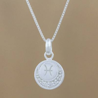 Sterling silver pendant necklace, 'Zodiac Charm Pisces' - Thai Sterling Silver and Cubic Zirconia Pisces Necklace
