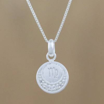 Sterling silver pendant necklace, 'Zodiac Charm Virgo' - Thai Sterling Silver and Cubic Zirconia Virgo Necklace