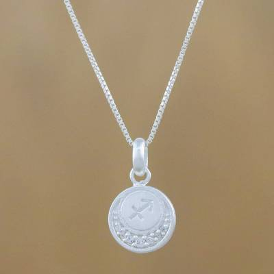 Sterling silver pendant necklace, 'Zodiac Charm Sagittarius' - Sterling Silver Sagittarius Pendant Necklace from Thailand