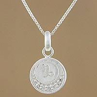 Sterling silver and cubic zirconia pendant necklace, 'Zodiac Charm Capricorn' - Sterling Silver Capricorn Pendant Necklace from Thailand