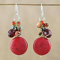 Calcite beaded dangle earrings, 'Red Circles' - Red Calcite and Glass Bead Dangle Earrings from Thailand