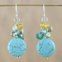 Calcite dangle earrings, 'Blue Circles' - Blue Calcite and Glass Bead Dangle Earrings from Thailand