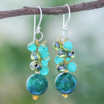 Serpentine and quartz beaded dangle earrings, 'Fun Circles in Teal' - Serpentine and Quartz Dangle Earrings from Thailand