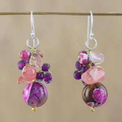 Quartz beaded dangle earrings, 'Lovely Blend in Pink' - Pink Quartz and Glass Bead Dangle Earrings from Thailand