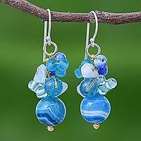 Quartz beaded dangle earrings, 'Lovely Blend in Blue' - Blue Quartz and Glass Bead Dangle Earrings from Thailand
