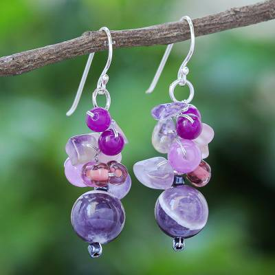 Quartz and amethyst beaded dangle earrings, 'Lovely Blend in Purple' - Purple Quartz and Amethyst Dangle Earrings from Thailand