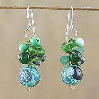 Quartz beaded dangle earrings, 'Lovely Blend in Green' - Green Quartz and Glass Bead Dangle Earrings from Thailand