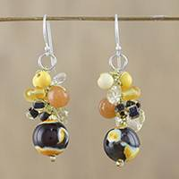 Quartz and citrine dangle earrings, 'Lovely Blend in Yellow' - Yellow Quartz and Citrine Dangle Earrings from Thailand