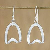 Sterling silver dangle earrings, 'Twisted Ovals' - Thai Brushed Satin Finish Sterling Silver Dangle Earrings