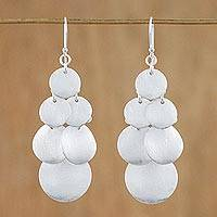 Sterling silver dangle earrings, 'Shimmering Coins' - Sterling Silver Multi-Circle Dangle Earrings from Thailand