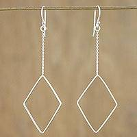 Sterling silver dangle earrings, 'Breezy Diamond' - High Polish Sterling Silver Diamond Shaped Dangle Earrings