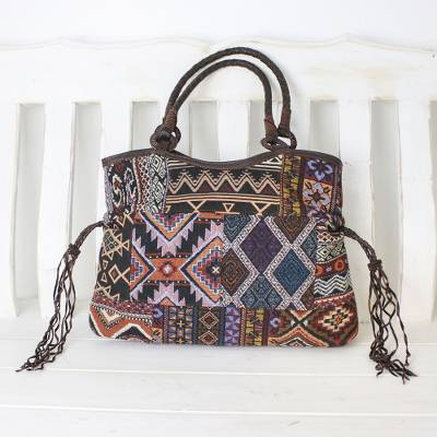 Leather accented cotton blend shoulder bag, 'Chiang Mai Patchwork in Navy' - Multicolored Cotton Blend Shoulder Bag with Leather Trim