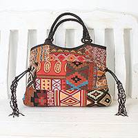 Leather accented cotton blend shoulder bag, 'Chiang Mai Patchwork in Red' - Artisan Crafted Multicolored Patchwork Shoulder Bag