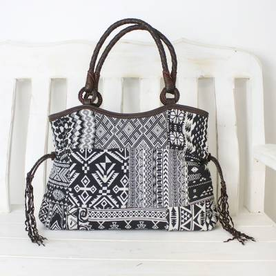 Leather accented cotton blend shoulder bag, 'Chiang Mai Patchwork in Black' - Black and White Patchwork Shoulder Bag from Thailand