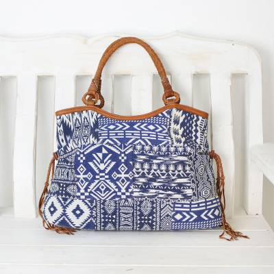 Leather accented cotton blend shoulder bag, 'Chiang Mai Patchwork in Blue' - Patchwork Cotton Blend Shoulder Bag in Blue and White
