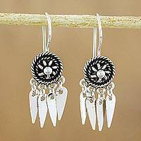 Sterling silver chandelier earrings, 'La Na Wheels' - Circular Sterling Silver Chandelier Earrings from Thailand