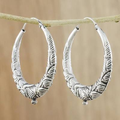 Silver hoop earrings, 'Moonlit Beauty' - Artisan Crafted Karen Silver Hoop Earrings from Thailand
