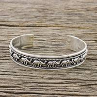 Sterling silver cuff bracelet, 'Elephant Life' - Sterling Silver Elephant Cuff Bracelet from Thai Hill Tribe