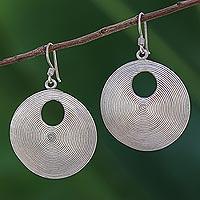 Sterling silver dangle earrings, 'Dark Spiral Loops' (Thailand)