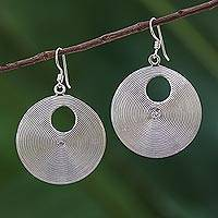 Sterling silver dangle earrings, 'Spiral Loops' - Spiral Motif Sterling Silver Dangle Earrings from Thailand