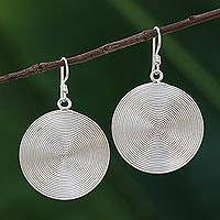 Sterling silver dangle earrings, 'Spiral Circles' - Circle Spiral Sterling Silver Dangle Earrings from Thailand
