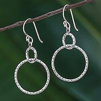 Sterling silver dangle earrings, 'Dotted Links' - Handcrafted Sterling Silver Dangle Earrings from Thailand