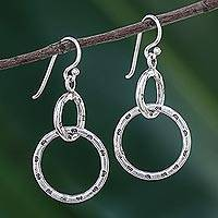 Sterling silver dangle earrings, 'Dainty Links' - Stamped Sterling Silver Dangle Earrings from Thailand