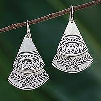 Sterling silver dangle earrings, 'Fan of Flowers' - Floral Sterling Silver Dangle Earrings from Thailand