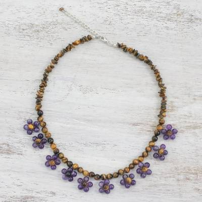 Tiger's eye and amethyst beaded necklace, 'Tiny Flowers in Purple' - Tiger's Eye and Amethyst Beaded Necklace from Thailand
