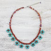 Multi-gemstone beaded necklace, 'Tiny Flowers in Light Blue' - Carnelian Amethyst and Calcite Beaded Necklace from Thailand