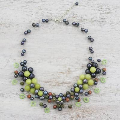 Multi-gemstone beaded necklace, Sea Foam Bubbles