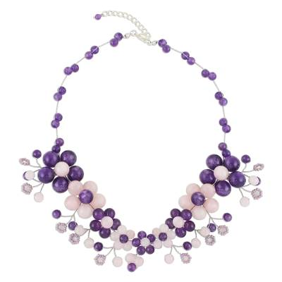 Amethyst and Rose Quartz Beaded Necklace from Thailand