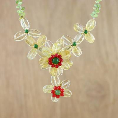 Multi-gemstone pendant necklace, 'Infinity Flower' - Citrine Peridot and Quartz Pendant Necklace from Thailand
