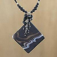 Agate and onyx pendant necklace, 'Night Music' - Agate and Onyx Pendant Necklace on Macrame Cords
