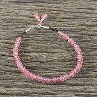 Quartz beaded bracelet, 'Endless Summer Pink' - Faceted Quartz Handmade Bracelet 950 Silver Clasp Thailand