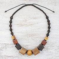Wood beaded necklace, 'Natural Style' - Wood and Coconut Shell Beaded Necklace from Thailand