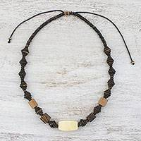 Wood and coconut shell beaded necklace, 'Thai Woodland' - Wood and Coconut Shell Beaded Necklace from Thailand