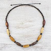 Wood and coconut shell beaded necklace, 'Thai Holiday' - Wood and Coconut Shell Beaded Necklace from Thailand